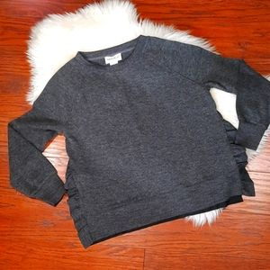For the Republic Knit Ruffle Side Slit Sweater